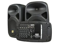 """8-Channel Mixer Built-In Amplifier PA Stereo System w/ 2x 130W 10"""" Speakers"""