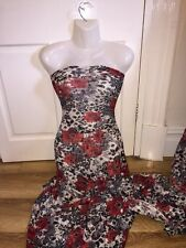 "5 MTR WHITE/RED/BLACK FLORAL PRINT LACE NET LYCRA STRETCH FABRIC.60"" WIDE £24.99"
