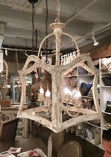 CHARMING VINTAGE FRENCH FARMHOUSE RESTORATION STYLE IRON LANTERN CHANDELIER