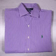 "RALPH LAUREN Purple Striped Custom Fit Designer Cotton Shirt 16.5"" / XL #A3351"