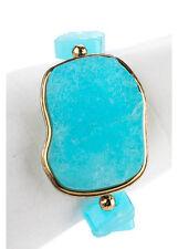 NEW NEST Bronze Tone Dyed Aqua 8 Stone Quartzite Stretch Statement Bracelet JTW