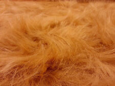 PLAIN HONEY  DARK ORANGE FAUX LONG HAIR FUR FABRIC FANCY DRESS CRAFT AC356