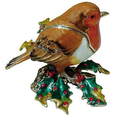 TRINKET BOX - CRAYCOMBE TRINKETS - CHRISTMAS ROBIN ON HOLLY