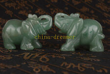 PAIR DONGLING JADE CARVED ELEPHANT STATUE FIGURINE GIFT ORNAMENT VINTAGE COLLECT