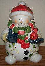 3-D SNOWMAN COLLECTIBLE COOKIE JAR with CARDINAL in Hand - RARE HTF