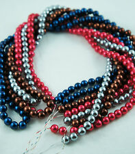 4 Colors/Strands 8mm Grey/Red/Dark Blue/Bordeaux Color Acrylic Round Pearl Beads
