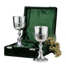 Set of 2: Italian Pewter Harvest of Grapes Wine Goblets Chalices with Gift Box