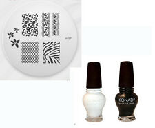 Konad Nail Art 2x Special Polish 12 ml Black Gold +White+ Image Plate M57 Zebra