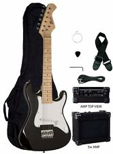 "Raptor EP-5 Mini ST BLACK 31"" Kid's Child Electric Guitar Pack w/ 5w Amp, Bag"