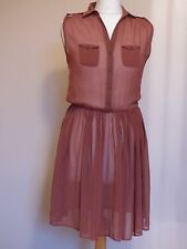 ATMOSPHERE LADIES SIZE 8 BROWN SEMI SHEER TEA DRESS A6