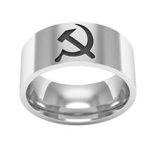 Hammer and Sickle ring , Silver Wedding band