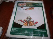 "Tobin Stamped Cross Stitch Embroidery Tablecloth HOLIDAY BELLS 50"" x 70"""