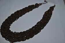 Brown Braided Seed Bead Statement Necklace Cluster Bold NWT Jewelry