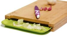 Bamboo Cutting Board with Easy Slide Trays ,UNIQUE & PRACTICAL DESIGN,ANTI-MICR0
