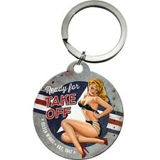 Ready For Take Off Classic Retro 40's 50's Pin Up Girl Gift Keyring