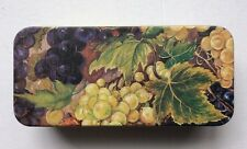 Vintage Fruits Print Rectangle Canister Collectible Tin Empty Box