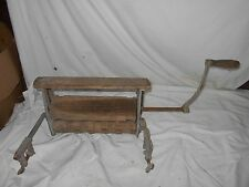 VINTAGE COLLECT 1800's WOODEN WASH TUB HAND ROLLER TOWEL CLOTHES WRINGER ANTIQUE