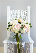 Sparkly Wedding Silver Sequin Table Runner(12''*72'') for New Year Celebration