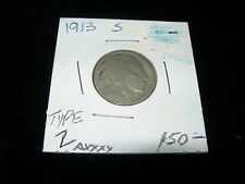 Antique Vintage 1913 S Buffalo Nickel Coin Good