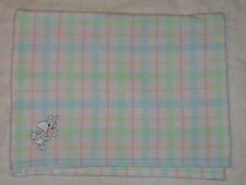 Looney Tunes Plaid Fleece Baby Blanket Sylvester Cat White Blue Green Pink
