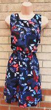 PRIMARK BLACK BLUE PINK BUTTERLY SKATER A LINE FLIPPY SUMMER TEA RARE DRESS 16