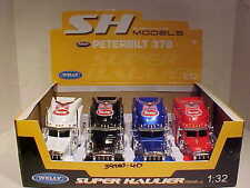 Pack of 4 Peterbilt 379 Semi Tractor Rig Truck Diecast 1:32 Welly 12 inch