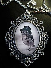 Victorian Owl Top Hat Antique Silver Pendant Necklace Brooch Goth*Steampunk*