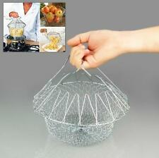 Chef Strain Fry Frying Basket Strainer Washable Foldable Kitchen Gadget Hot - CB