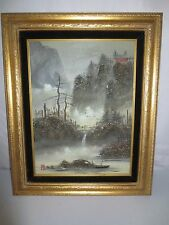 VINTAGE SIGNED CHINESE WATERFALL LANDSCAPE 3-D RELIEF OIL PAINTING FRAMED