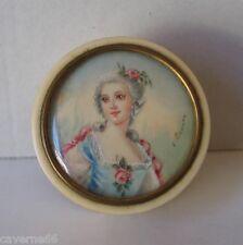 boite tabatière ou pilule XIX miniature fait main l'impératrice Eugénie Signé