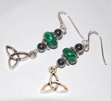 Green MALACHITE & Hematite Gemstone Celtic Knot STERLING SILVER Earrings ~ 33mm