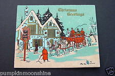 #H884- Unused Art Deco Xmas Greeting Card Gold Embossed Country Cottage on Blue