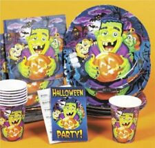 Halloween Birthday Monsters Party 40pc napkins paper plates cups invitation 8ppl