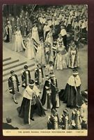 Royalty Coronation QUEEN ELIZABETH Passing Through Westminster Abbey PPC