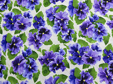 Lovely Purple Pansies Flower RJR Cotton Sewing Fabric #2219 By the Yard