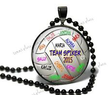 Personalized Team Autographed Volleyball Glass Pendant & Chain Coach Player Gift