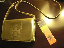 TORY BURCH Gold Leather Perforated Logo Small Clutch Crossbody NWT