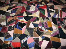 Antique Crazy Quilt-FAN-Ornate Stitching Vintage-Silk-Brocade-Velvet