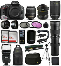 Nikon D5200 DSLR Camera + 18-55mm VR + 70-300mm G + 420-1600mm + 128GB + More