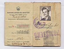 YUGOSLAVIA - PEOPLE'S REPUBLIC OF CROATIA - ID card issued in Zagreb 1950