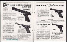 1951 COLT WOODSMAN Target, Match Target, Sport and Challenger Pistol 2-pg AD