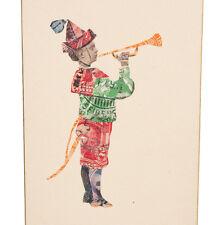 """alte kleine Bildchen / COLLAGE aus alten BRIEFMARKEN """"Junge m. Trompete"""" um 1900"""