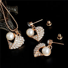 New fashion pearl pendant crystal earings necklace set women's fashion jewelry