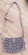 Zara Leather Crossbody Bag Small Beige Chain
