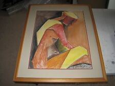 Kathy Leader, Original Chalk, Signed Matted & Framed Drawing (two) 32x25""