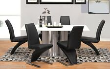 Black chairs ivory marble top steel base Dining table 7 pcs furniture set chair