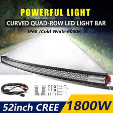 """Curved LED Work Light Bar 52""""Inch Quad-Row 1800W Spot Flood Combo Beam Offroad"""