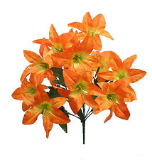 12 Tiger Lilies Lily ~ ORANGE ~ Silk Wedding Flowers Bridal Centerpieces Decor