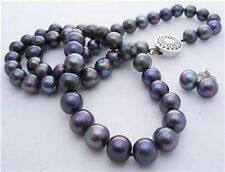 8-9mm Real Natural Black Akoya Cultured Pearl Necklace Earrings Jewelry Set AA+