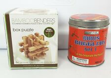 Lot of 2 3D Puzzle Bamboo Benders (real Bamboo) & metal brain bogglers puzzles